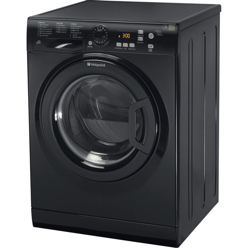 Hotpoint-Washing-machine-Free-standing-WMXTF-842K-UK.R-Black-Front-loader-A---Perspective