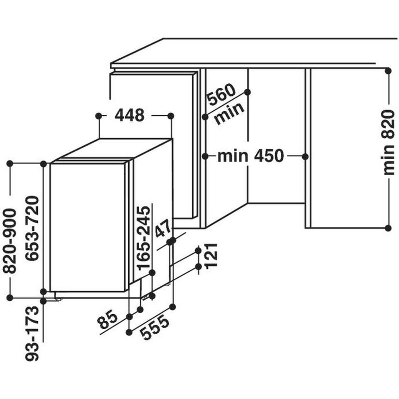 Hotpoint-Dishwasher-Built-in-LSTF-9H123-C-L-UK-Full-integrated-A-Technical-drawing