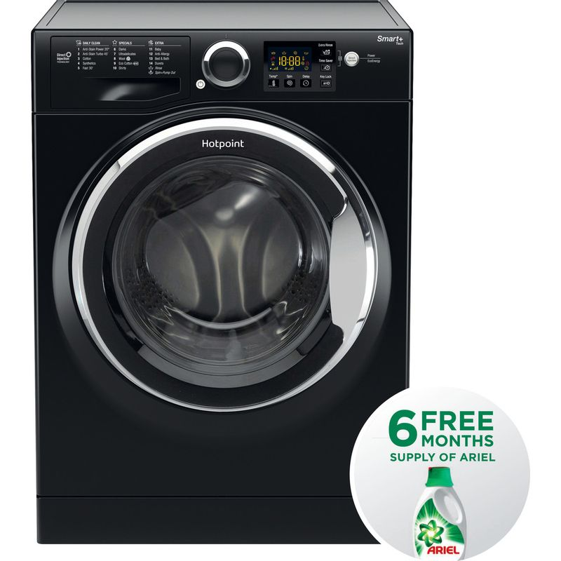 Hotpoint-Washing-machine-Free-standing-RSG-845-JKX-UK-Black-Front-loader-A----Frontal