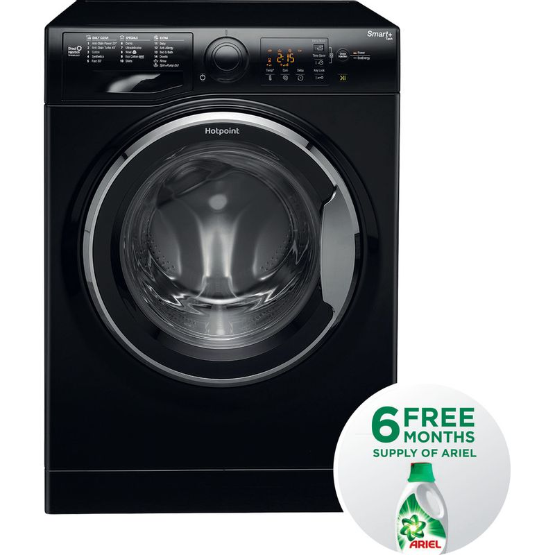 Hotpoint-Washing-machine-Free-standing-RSG-964-JKX-UK-Black-Front-loader-A----Frontal
