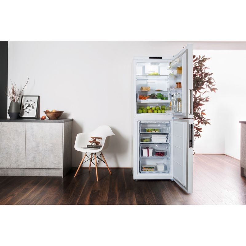 Hotpoint-Fridge-Freezer-Free-standing-LAL85-FF1I-W-WTD-White-2-doors-Lifestyle-frontal-open