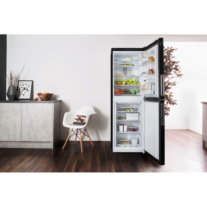 Hotpoint-Fridge-Freezer-Free-standing-XAL85-T1I-K-WTD-Black-2-doors-Lifestyle-frontal-open