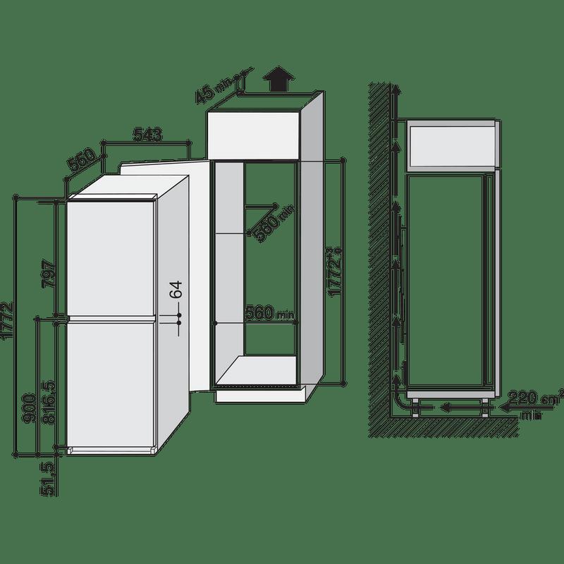 Hotpoint-Fridge-Freezer-Built-in-HM-325-FF.2-White-2-doors-Technical-drawing