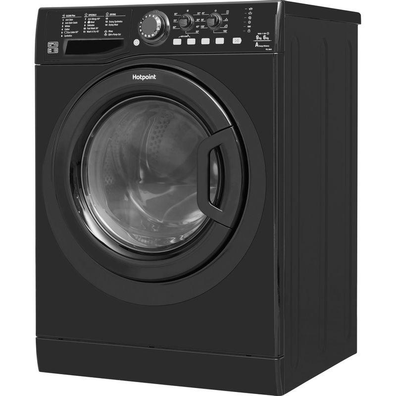 Hotpoint-Washer-dryer-Free-standing-FDL-9640K-UK-Black-Front-loader-Perspective