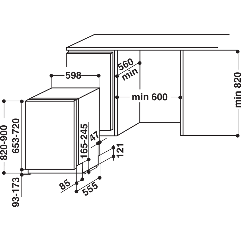Hotpoint-Dishwasher-Built-in-HIO-3P23-WL-E-UK-Full-integrated-E-Technical-drawing
