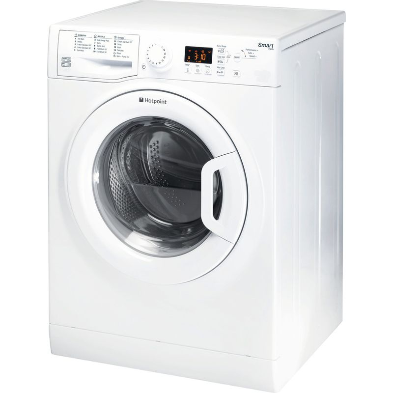 Hotpoint-Washing-machine-Free-standing-WMFUG-863P-UK-White-Front-loader-A----Perspective