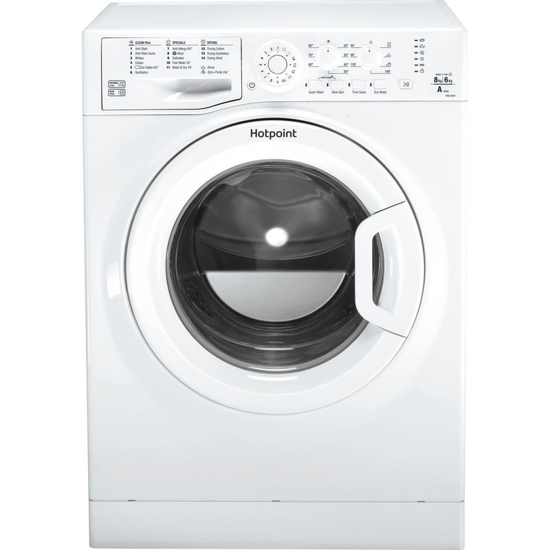 Hotpoint-Washer-dryer-Free-standing-FDEU-8640-P-UK-White-Front-loader-Frontal