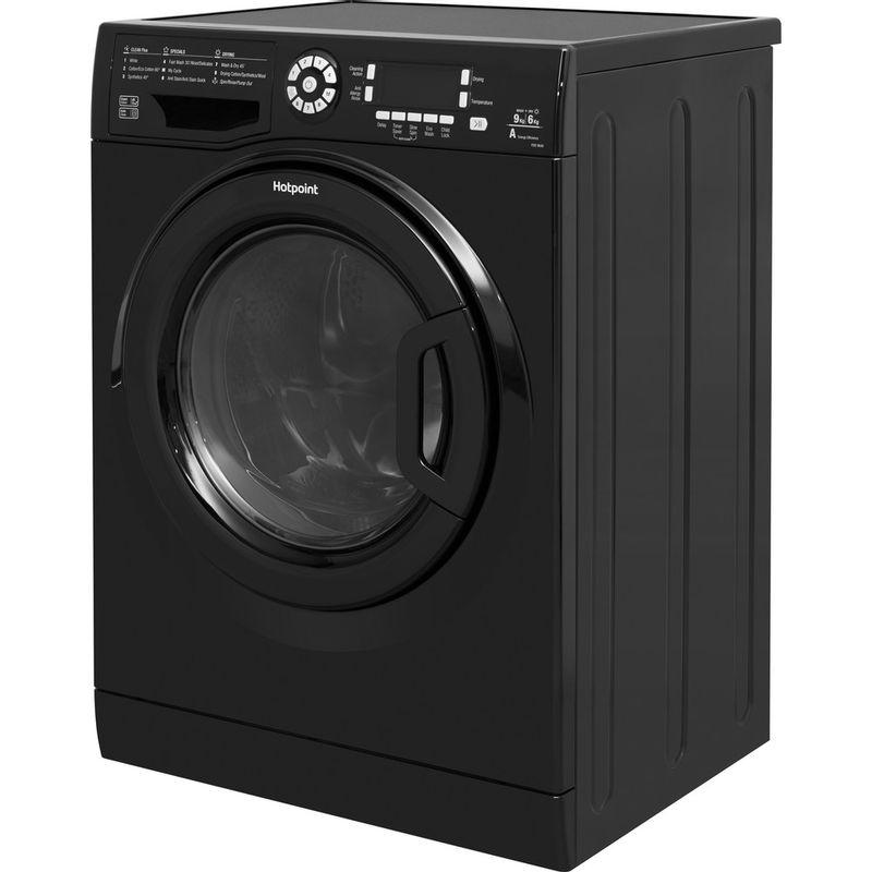 Hotpoint-Washer-dryer-Free-standing-FDF-9640-K-UK-Black-Front-loader-Perspective