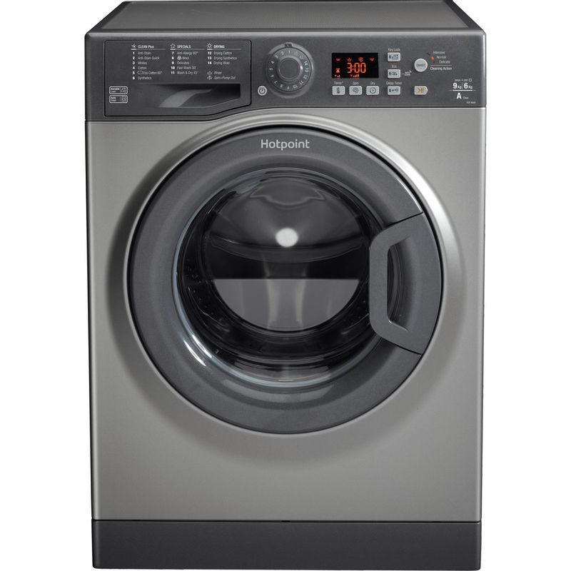 Hotpoint-Washer-dryer-Free-standing-FDF-9640-G-UK-Graphite-Front-loader-Frontal