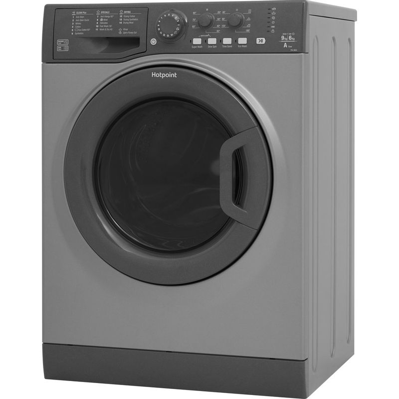 Hotpoint-Washer-dryer-Free-standing-FDL-9640-G-UK-Graphite-Front-loader-Perspective