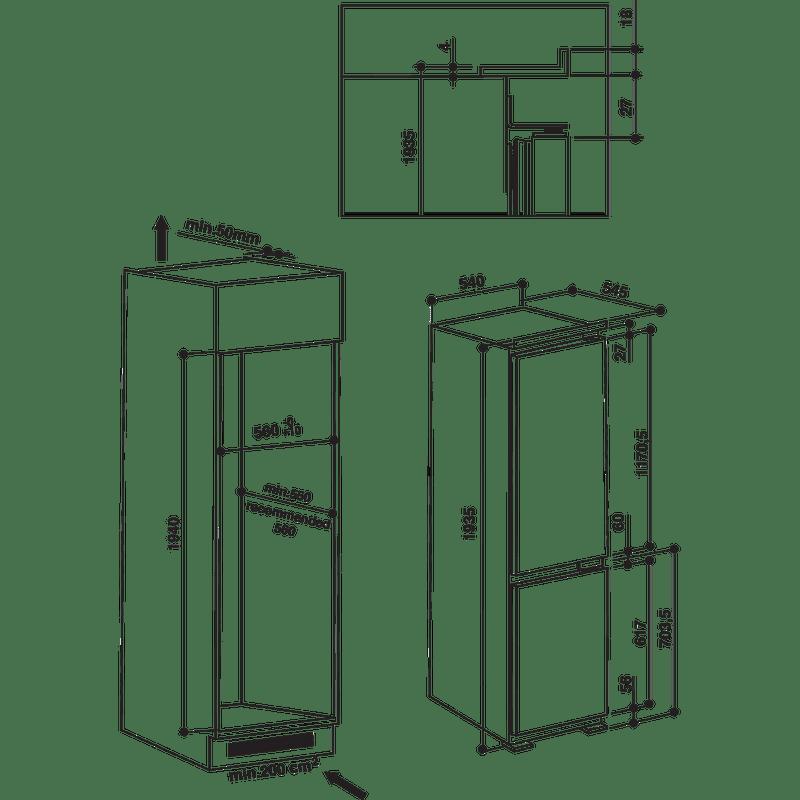 Hotpoint-Fridge-Freezer-Built-in-BCB-8020-AA-F-C-White-2-doors-Technical-drawing