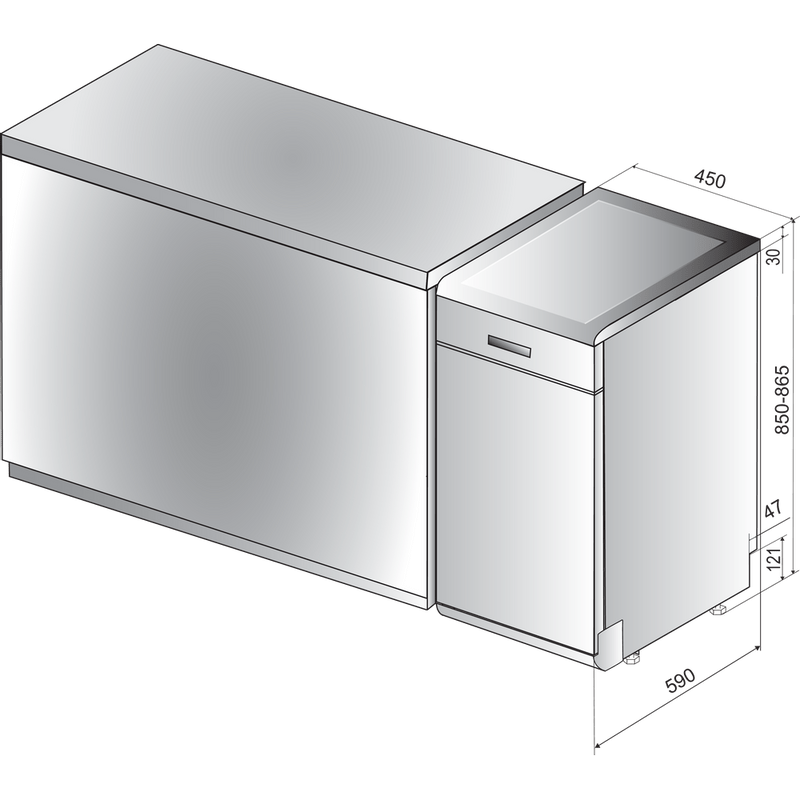 Hotpoint-Dishwasher-Free-standing-HSFO-3T223-W-UK-Free-standing-A---Technical-drawing