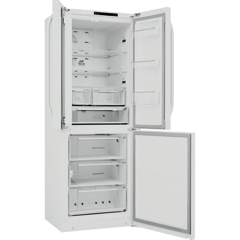 Hotpoint-Fridge-Freezer-Free-standing-FFU3D.1-W-White-2-doors-Perspective-open