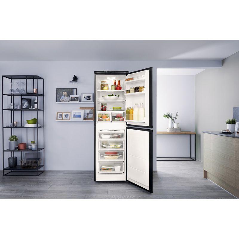 Hotpoint-Fridge-Freezer-Free-standing-HBNF-5517-B-UK-Black-2-doors-Lifestyle-frontal-open