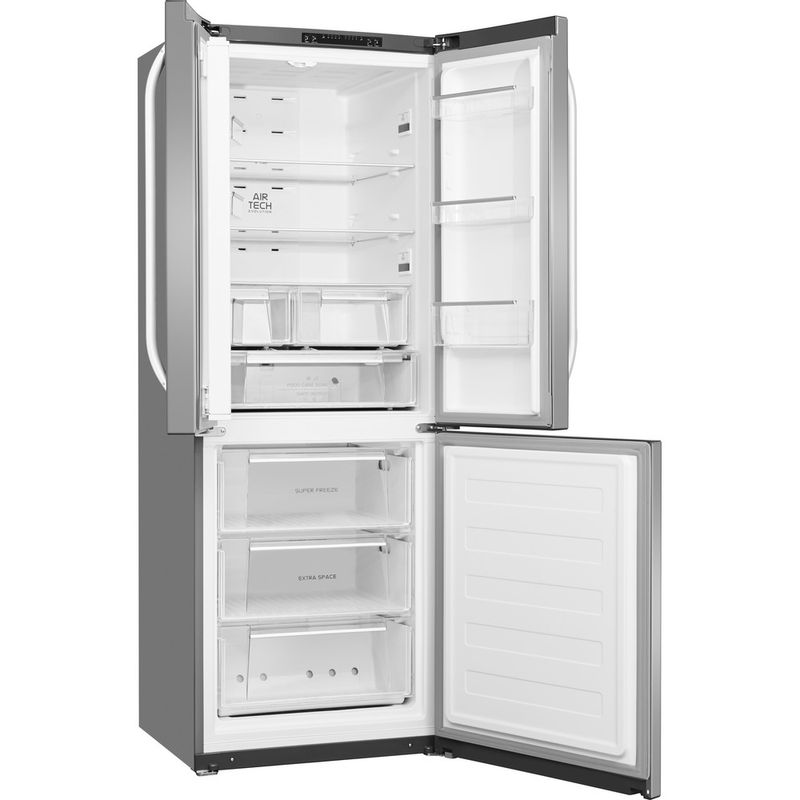 Hotpoint-Fridge-Freezer-Free-standing-FFU3D.1-X-Inox-2-doors-Perspective-open