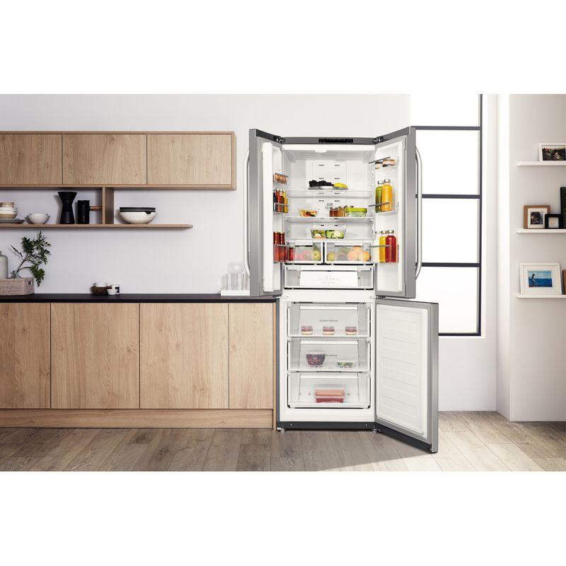Hotpoint-Fridge-Freezer-Free-standing-FFU3D.1-X-Inox-2-doors-Lifestyle-frontal-open