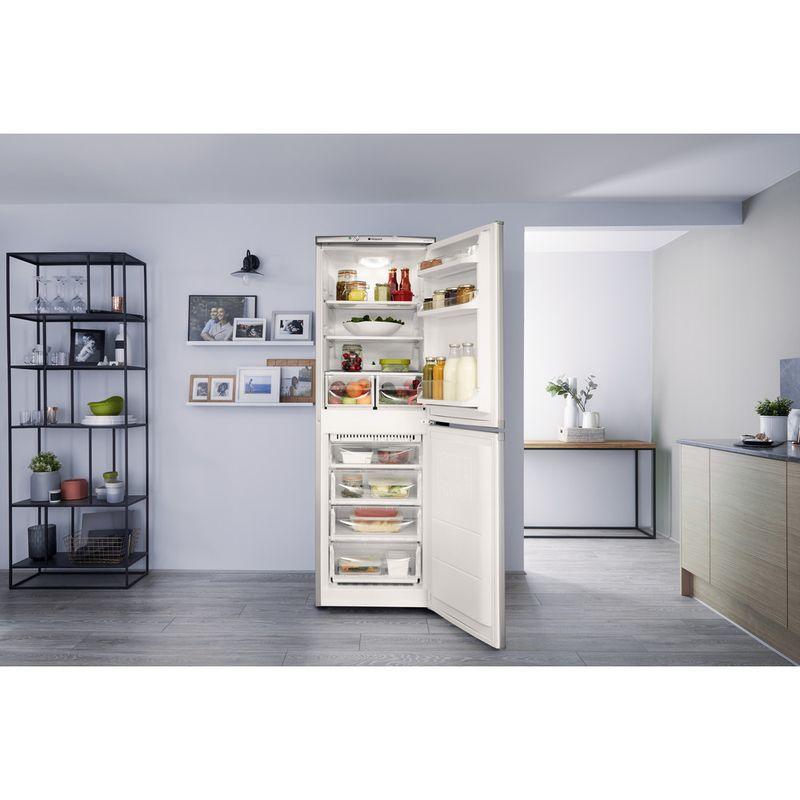 Hotpoint-Fridge-Freezer-Free-standing-HBNF-5517-S-UK-Silver-2-doors-Lifestyle-frontal-open