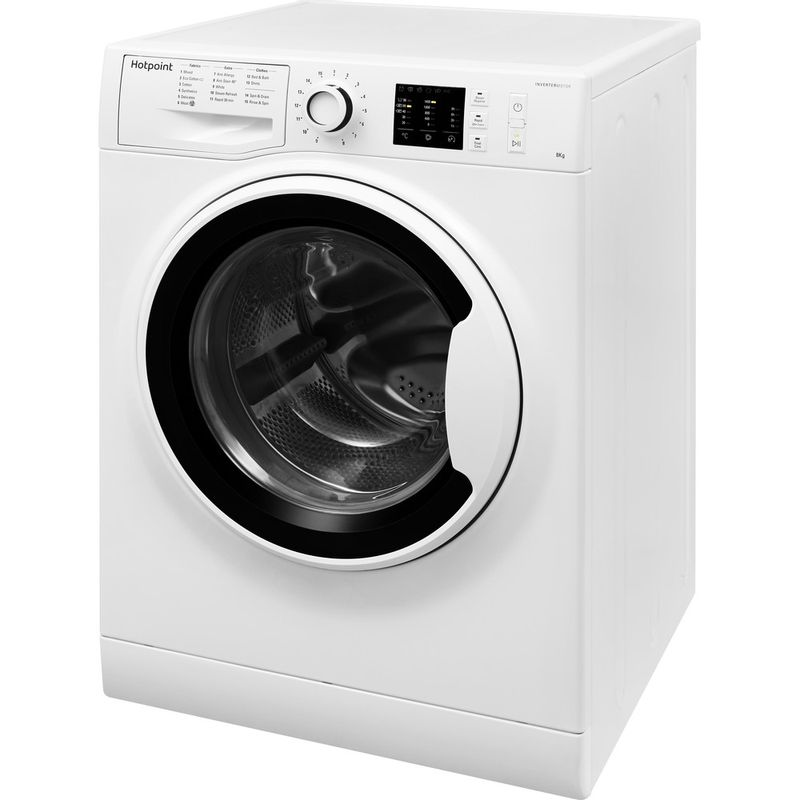 Hotpoint-Washing-machine-Free-standing-NM10-844-WW-UK-White-Front-loader-A----Perspective