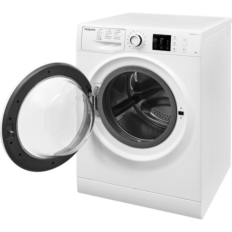 Hotpoint-Washing-machine-Free-standing-NM10-844-WW-UK-White-Front-loader-A----Perspective_Open