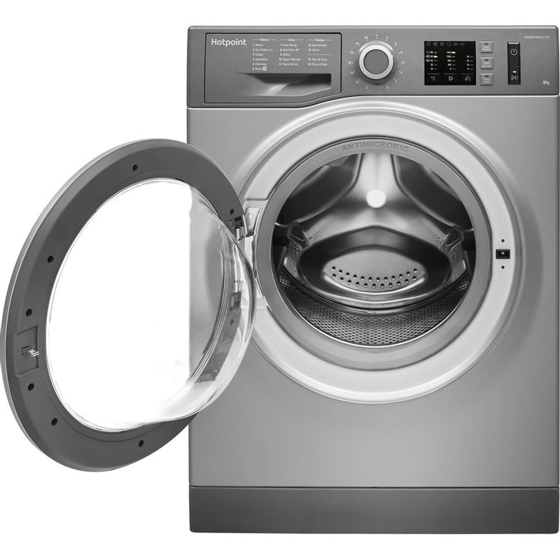 Hotpoint-Washing-machine-Free-standing-NM10-844-GS-UK-Graphite-Front-loader-A----Frontal_Open
