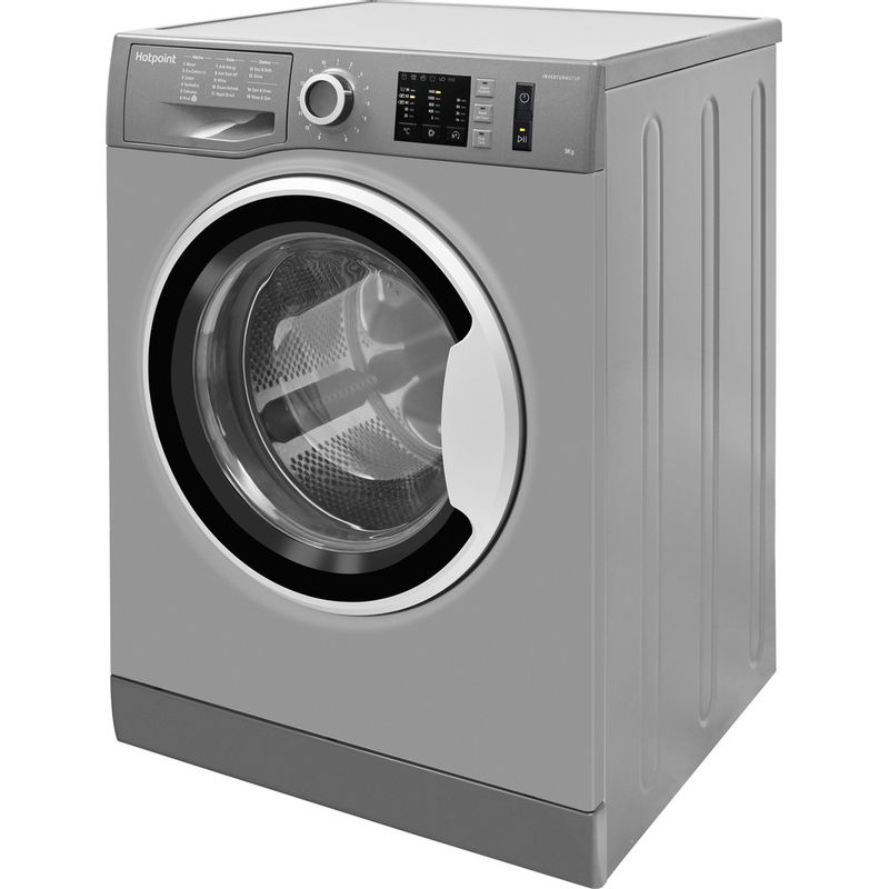 Hotpoint-Washing-machine-Free-standing-NM10-944-GS-UK-Graphite-Front-loader-A----Perspective