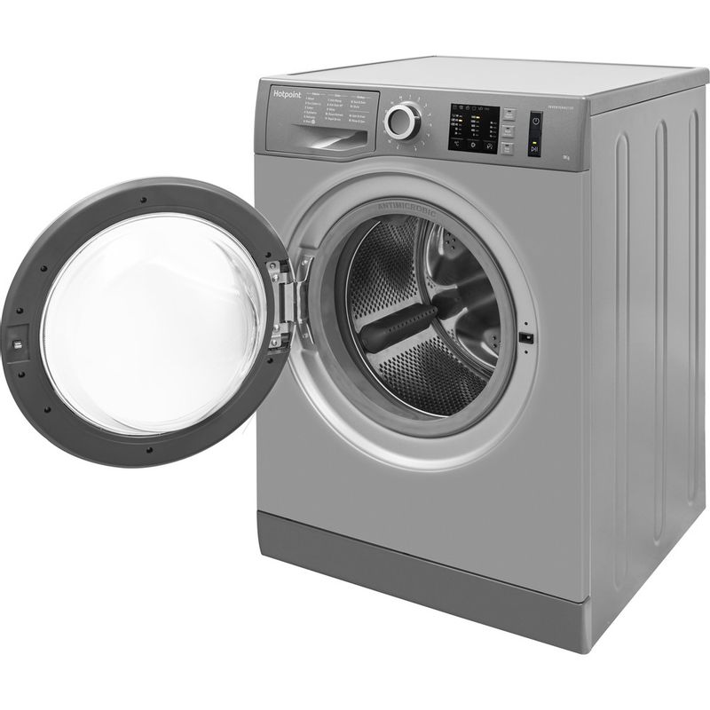 Hotpoint-Washing-machine-Free-standing-NM10-944-GS-UK-Graphite-Front-loader-A----Perspective_Open