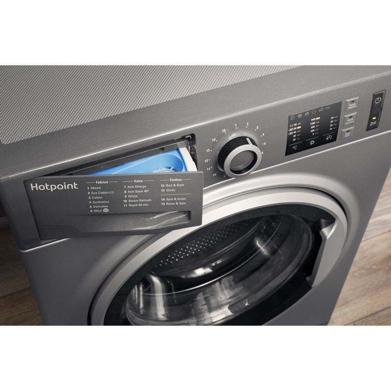 Hotpoint-Washing-machine-Free-standing-NM10-944-GS-UK-Graphite-Front-loader-A----Drawer