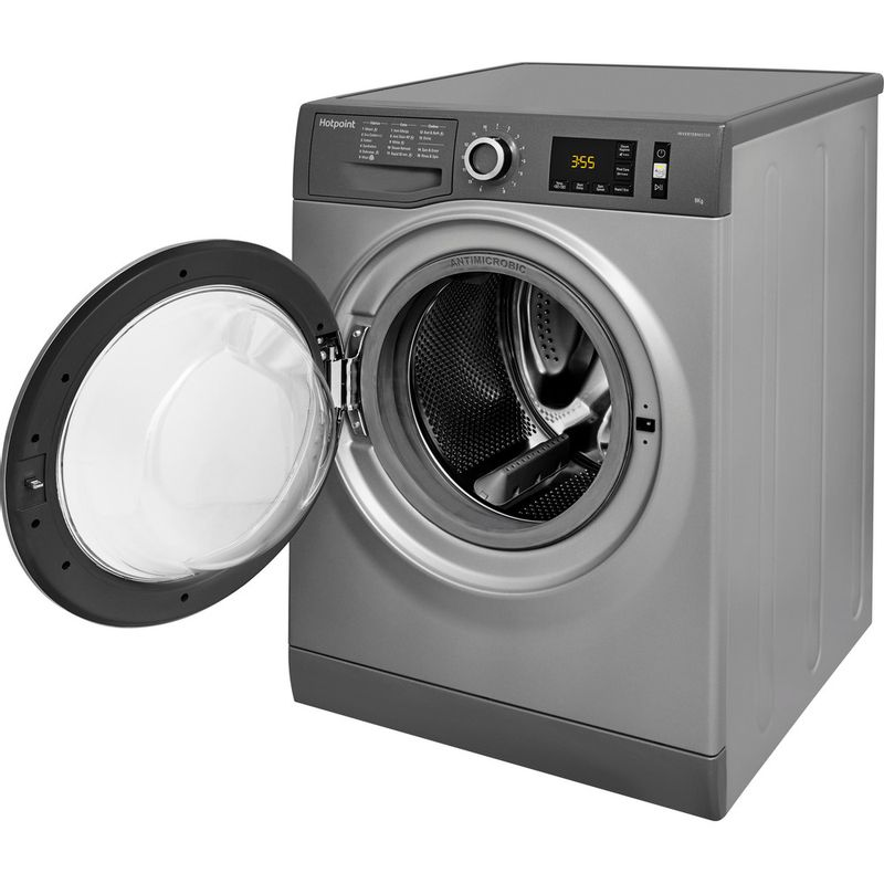 Hotpoint-Washing-machine-Free-standing-NM11-845-GC-A-UK-Graphite-Front-loader-A----Perspective_Open