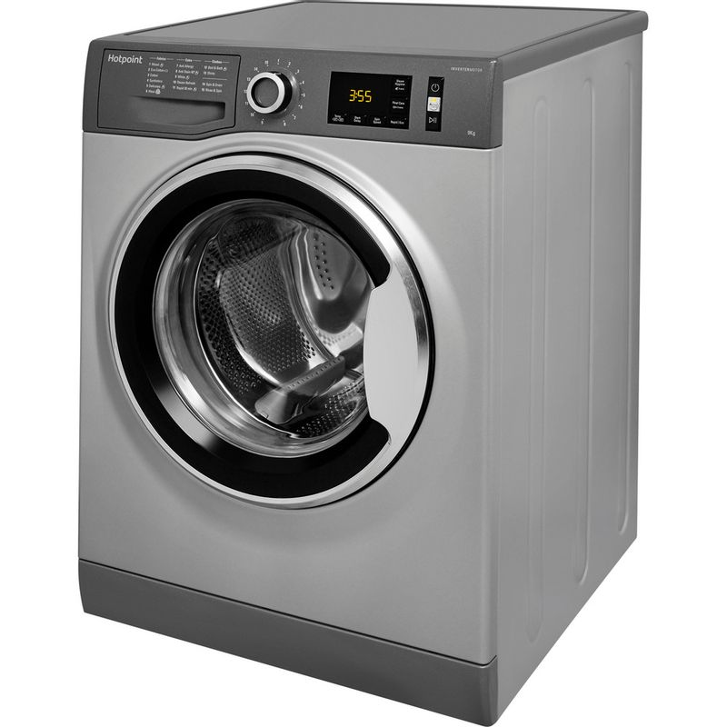Hotpoint-Washing-machine-Free-standing-NM11-964-GC-A-UK-Graphite-Front-loader-A----Perspective