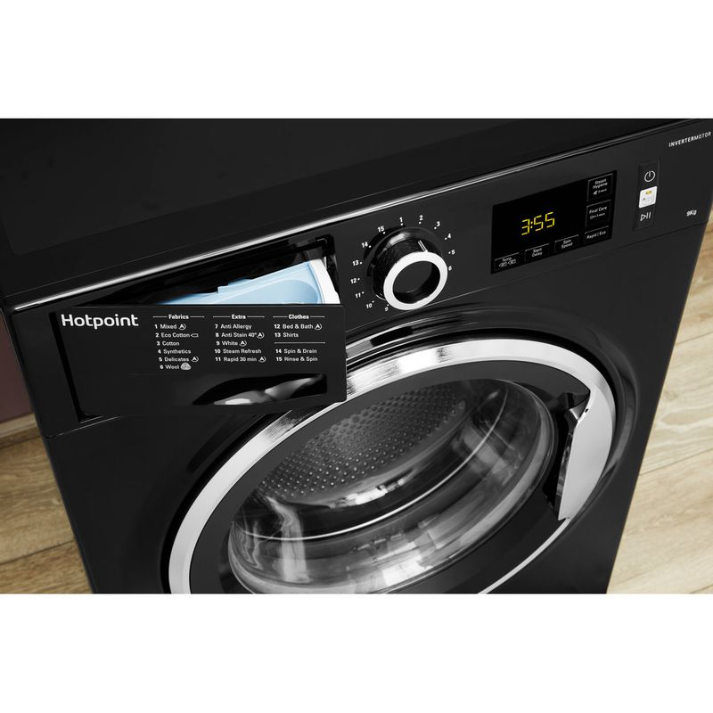 Hotpoint-Washing-machine-Free-standing-NM11-946-BC-A-UK-Black-Front-loader-A----Drawer