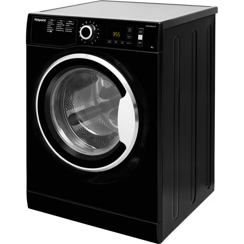 Hotpoint-Washing-machine-Free-standing-NM11-964-BC-A-UK-Black-Front-loader-A----Perspective