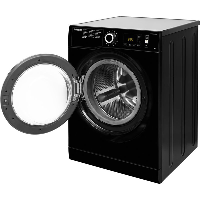 Hotpoint-Washing-machine-Free-standing-NM11-964-BC-A-UK-Black-Front-loader-A----Perspective_Open