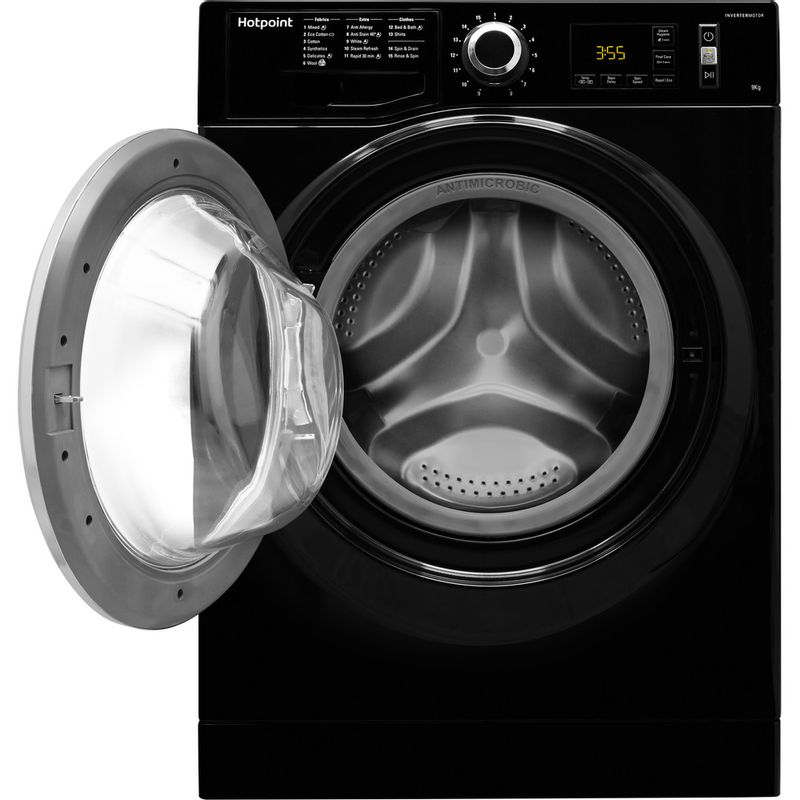 Hotpoint-Washing-machine-Free-standing-NM11-964-BC-A-UK-Black-Front-loader-A----Frontal_Open