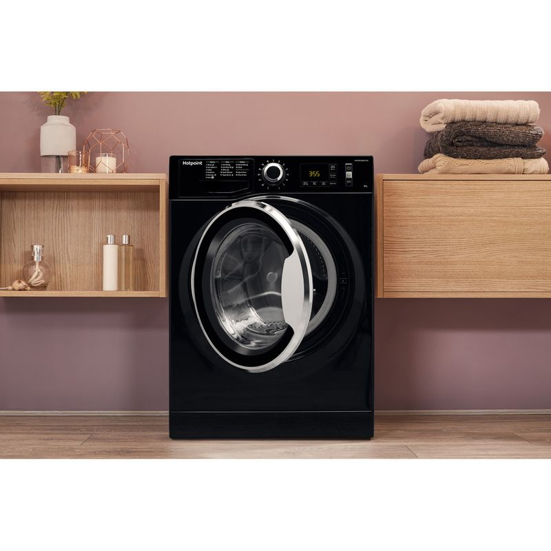 Hotpoint-Washing-machine-Free-standing-NM11-964-BC-A-UK-Black-Front-loader-A----Lifestyle_Frontal_Open
