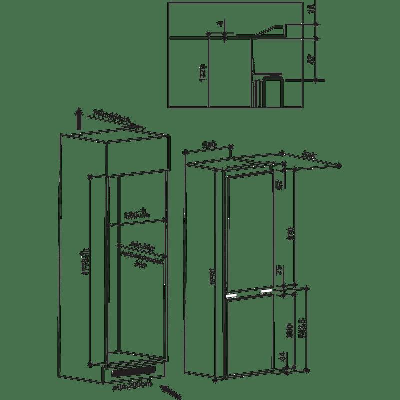 Hotpoint-Fridge-Freezer-Built-in-HMCB-7030-AA.UK.1-White-2-doors-Technical-drawing