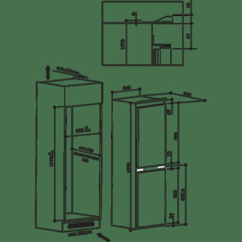 Hotpoint-Fridge-Freezer-Built-in-HMCB-5050-AA.UK.1-White-2-doors-Technical-drawing
