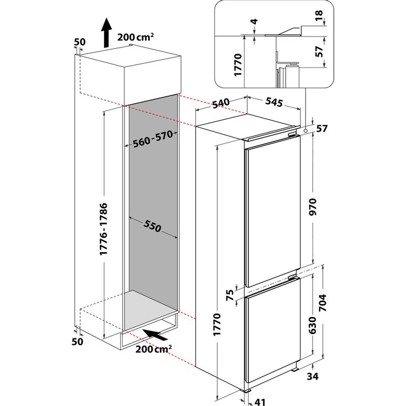 Hotpoint-Fridge-Freezer-Built-in-HM-7030-E-C-AA-O3.1-White-2-doors-Technical-drawing