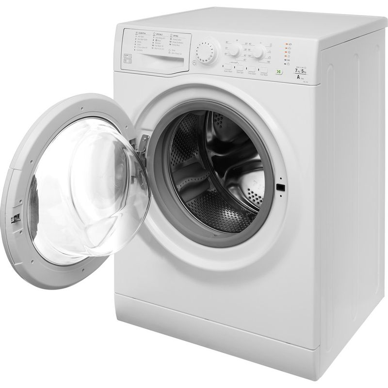 Hotpoint-Washer-dryer-Free-standing-FDL-754-P-UK-White-Front-loader-Perspective-open