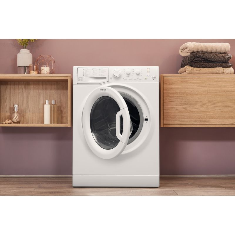 Hotpoint-Washer-dryer-Free-standing-FDL-754-P-UK-White-Front-loader-Lifestyle-frontal-open
