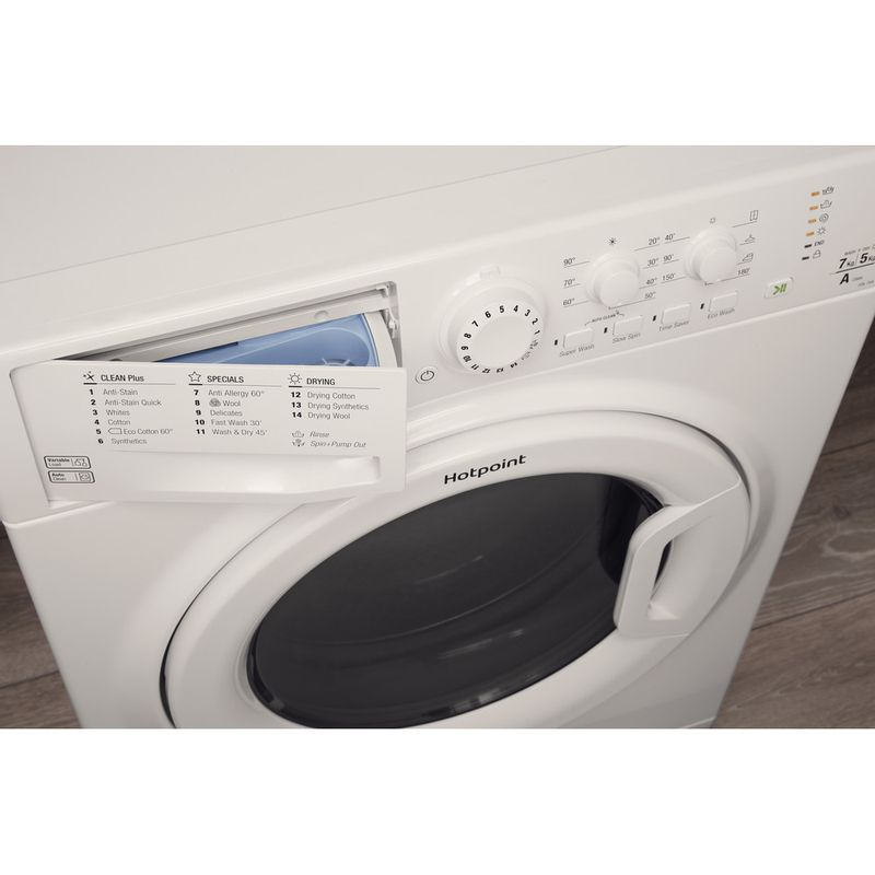 Hotpoint-Washer-dryer-Free-standing-FDL-754-P-UK-White-Front-loader-Drawer