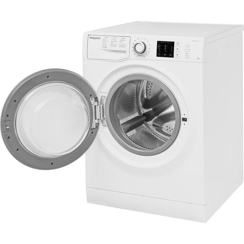 Hotpoint-Washing-machine-Free-standing-NM10-944-WS-UK-White-Front-loader-A----Perspective-open
