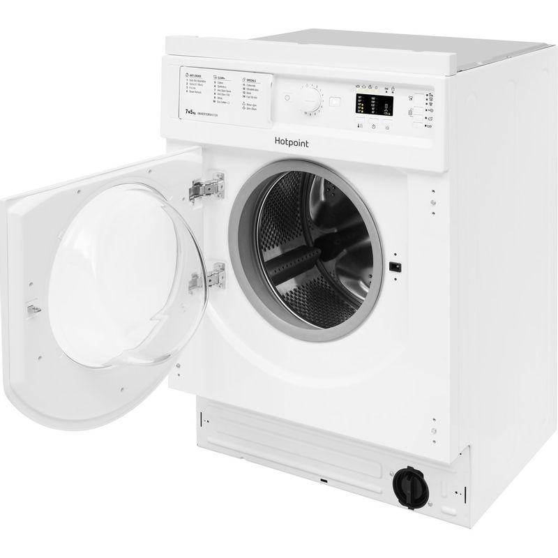 Hotpoint-Washer-dryer-Built-in-BI-WDHL-7128-UK-White-Front-loader-Perspective-open