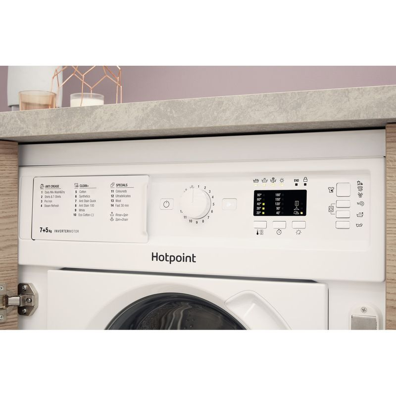 Hotpoint-Washer-dryer-Built-in-BI-WDHL-7128-UK-White-Front-loader-Lifestyle-control-panel