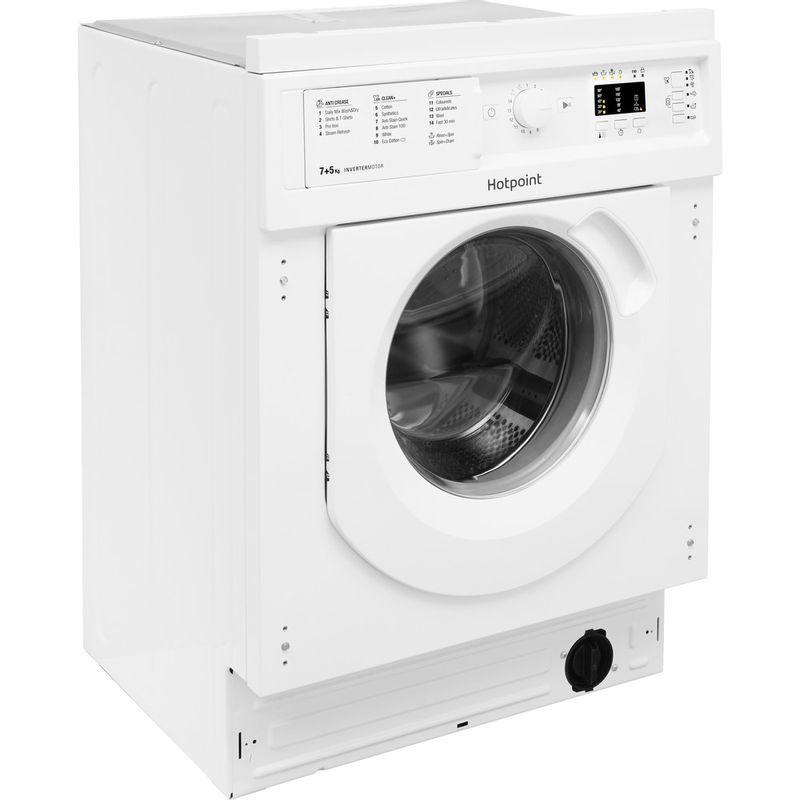 Hotpoint-Washer-dryer-Built-in-BI-WDHG-7148-UK-White-Front-loader-Perspective