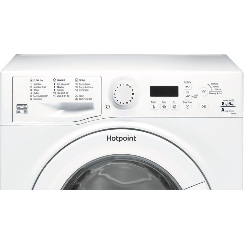 Hotpoint-Washer-dryer-Free-standing-FDL-8640P-UK-White-Front-loader-Control-panel