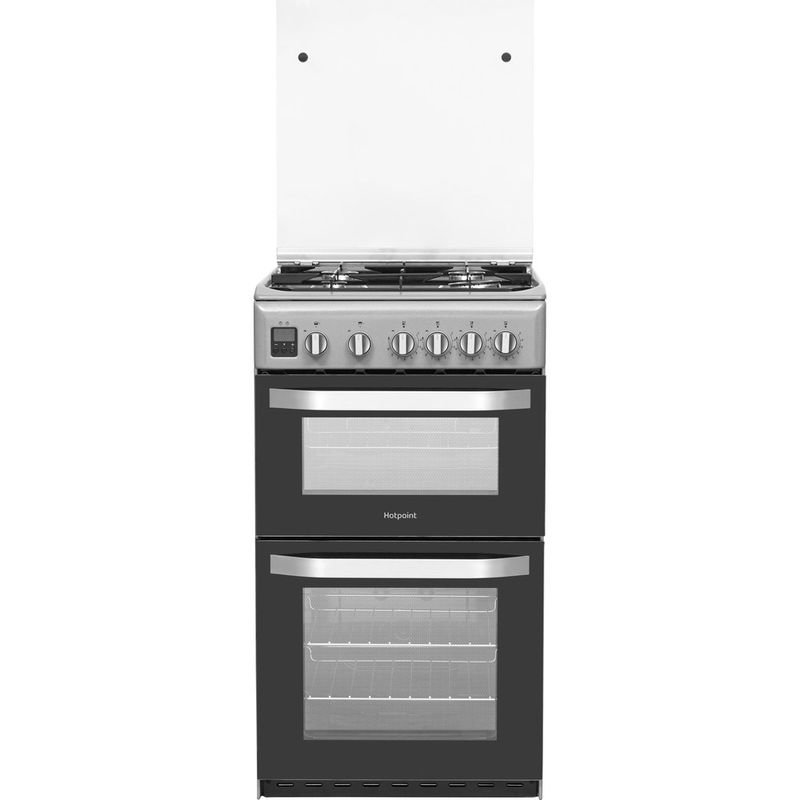 Hotpoint-Double-Cooker-HD5G00CCSS-UK-Silver-A--Enamelled-Sheetmetal-Frontal