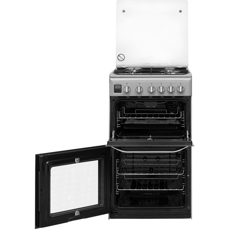 Hotpoint-Double-Cooker-HD5G00CCSS-UK-Silver-A--Enamelled-Sheetmetal-Frontal-open