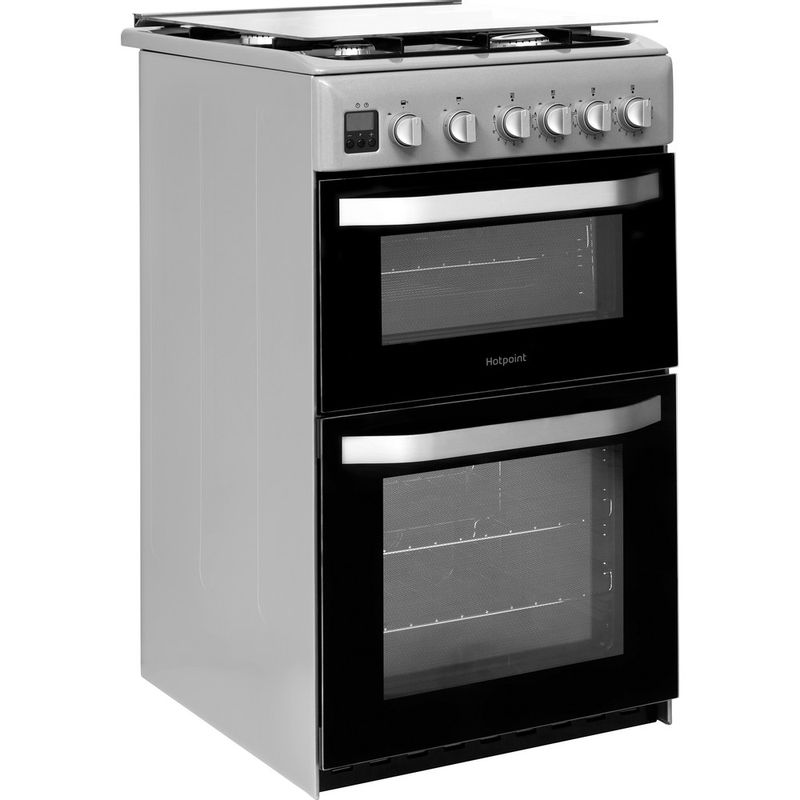 Hotpoint-Double-Cooker-HD5G00CCSS-UK-Silver-A--Enamelled-Sheetmetal-Perspective