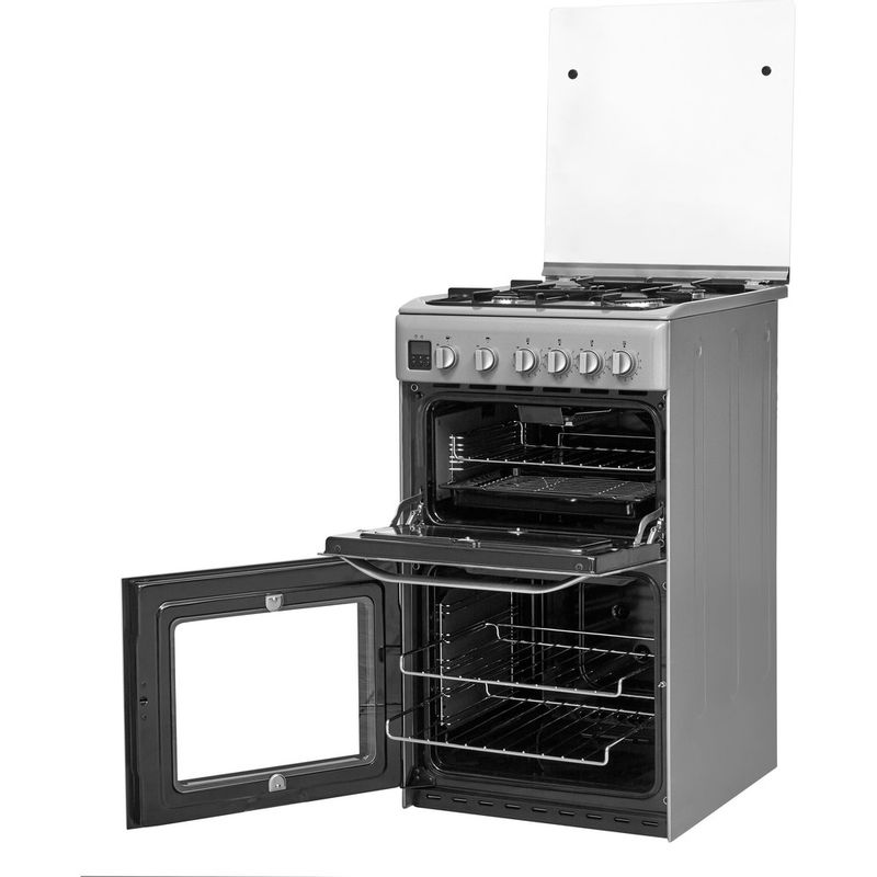 Hotpoint-Double-Cooker-HD5G00CCSS-UK-Silver-A--Enamelled-Sheetmetal-Perspective-open