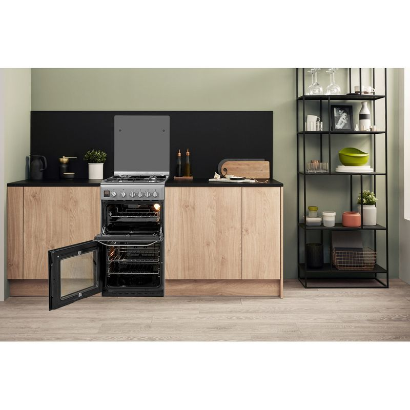 Hotpoint-Double-Cooker-HD5G00CCSS-UK-Silver-A--Enamelled-Sheetmetal-Lifestyle-frontal-open